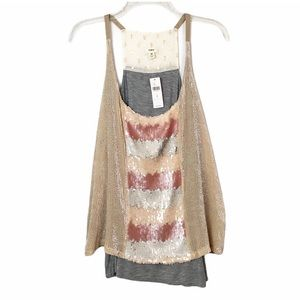 Anthro TINY Bare Scoop Sequin Tank Small